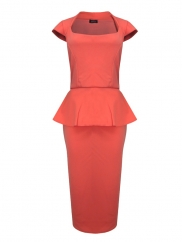 Knee Length Peplum Cocktail Dress In Coral