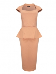 Knee Length Peplum Cocktail Dress In Nude