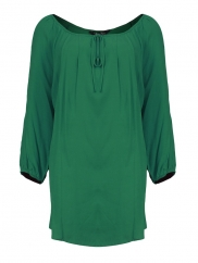 Green Cotton 3/4 Sleeve Top